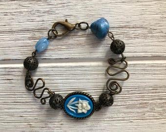 The Rose Bracelet- bronze, handmade, blue enamel, link, original, women's jewelry, gift