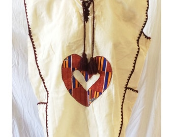 Vintage Handmade Boho Cotton Sleeveless Tunic Top