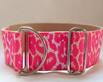 2 Inch Limited Slip Hound Collar in Hot Pink Cheetah Design
