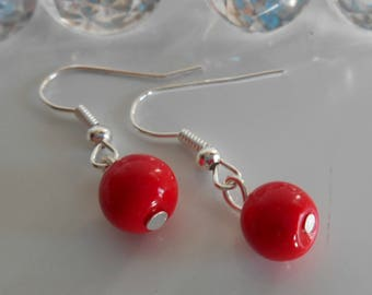 Wedding earrings red passion pearls