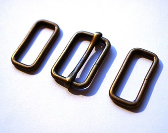 "1"" Bag slider & rectangle rings set, bag strap adjuster, bag strap slider, antique brass bag strap adjuster, bag making supplies, UK SHOP"