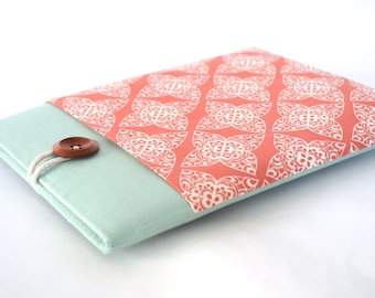 iPad Mini Sleeve iPad Case, Handmade Gift for Her Tablet or eReader, Retina Display iPad Mini Case Cover with Pocket - Coral Damask