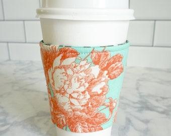 Reusable Coffee Sleeve-Aqua/Orange Floral Print