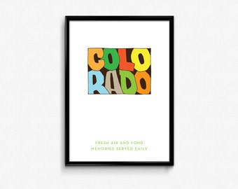 Colorado Typography Map, Colorado Printable, Colorado Poster, Colorado Print, State Art Print, Typography Map Poster, Digital Prints