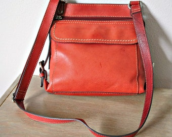 Leather Handbag Crossbody Shoulder Bag Vintage 1990's Organizer Purse