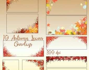 10 Autumn Leaves Overlays, Photography Overlay, Digital Leaves, Fall Leaves, Fall Photography, Autumn Borders, Fall Overlay, Leaves Overlays