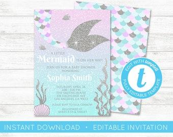EDIT YOURSELF, Mermaid Baby Shower Invitation, Little Mermaid Baby Shower Invitate, Whimsical Mermaid Under The Sea Baby Shower Templett