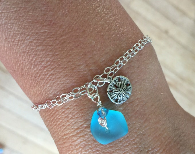 Sea Glass Earrings, Sea Glass Bracelets in Sterling Silver,Blue Sea Glass Earrings, Beach Weddings,Sea Glass Sand dollar Bracelet, Earrings
