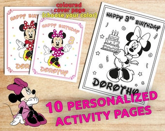 Personalized MINNIE Mouse Birthday Coloring Pages / 10 Pages / Party favors / Printable / Digital / PDF