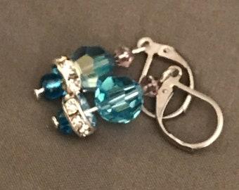 Blue Swarvoski Lever back Earrings