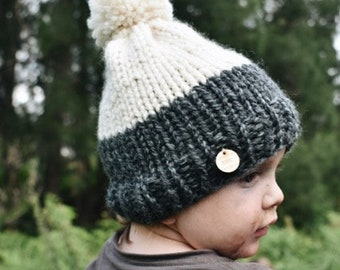 The Burra Beanie - Chunky knit Child Size (Slate/Cream)
