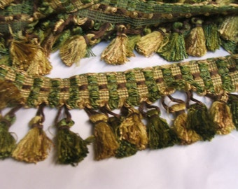 Tassel fringe in gold, brown and sage green with decorative tape