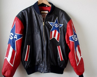 90s Vintage Leather Jacket Black Michael Hoban USA Red White Blue Oversized