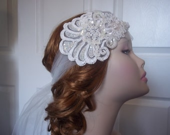 1920's Lace Bridal Headband Ivory, Bohemian/Flapper LaceSequin Headband, Art Deco Glam Wedding, Gatsby Bride, Lace Bandeau Headpiece 1920s