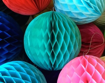 Teal 4 Inch Honeycomb Tissue Paper Balls - Paper Party Decor Decoration Supplies