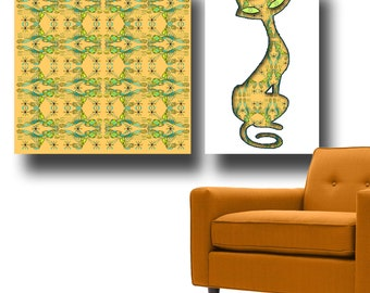 MID CENTURY MODERN Art Painting, Mid Century Patterns, Cat Lover Gift, Beatnik, Modern Cat Painting, Swirls, Dots, Doodle Art, Mid Cent