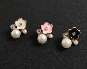 Elegant Cherry Blossoms Gold Brass Pearl silver stud earrings/Youth simple dainty diamond ear studs/everyday post earrings(SE043)