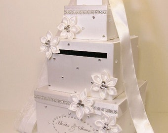 Wedding Card Box White 4 tier Gift Card Box Money Box Holder--Customize your color