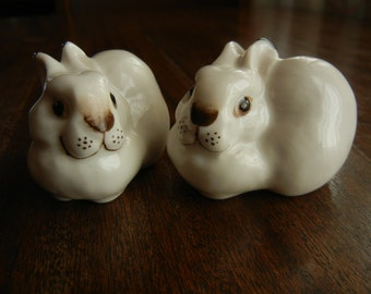 Two Lomonosov Rabbits ~ Made in the USSR ~ Red Color Mark