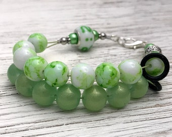 Light Green Abacus Counting Bracelet | Row Counter Jewelry | Gift for Knitters