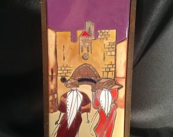 Hand Painted Tile Israeli Scene/Hand Painted tiles by Touch Wood Ltd Caesarea/Caesarea Glazed Tiles