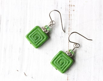 Green Square Earrings, Green Spiral Earrings, Czech Earrings, Spring Green Earrings, Modern Earrings, Green and Rhinestone Earrings