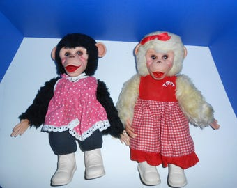 """Zippy the Chimp and Tippy the Chimp Vintage by Rushton, 15"""""""