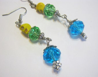 Sugar Skulls Day of the Dead Green Blue Yellow Glass Gothic Earrings