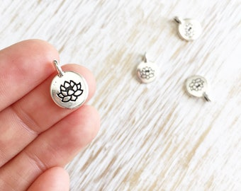 Antique Silver Lotus Flower Charm by Tierracast 16mm / 4pc, Floral Charm, Lotus Charm, Buddhist Jewelry, Yoga Charms, Yoga Beads (T94240312)
