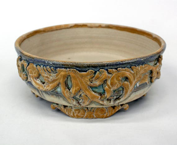 Bonsai Pot Blue Tan And Cream With Scroll Feet And Accents