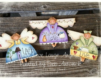 Live Love Laugh Angels by Deb Antonick, email pattern packet