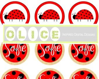 ladybug printable Party Circles, party printables. Ladybug party, lady bugs Polka Dots, Red and Black, burlap  Digital design PDF download.