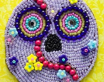 Small Sugar Skull, Purple, Bead Embroidery, Mixed Media Art, Seed Beads, Beadwork, Dias de Muertos