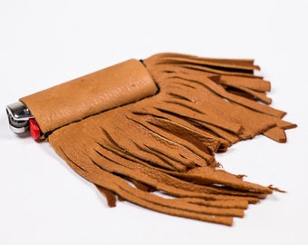 Tan Leather Fringe Lighter Sleeve