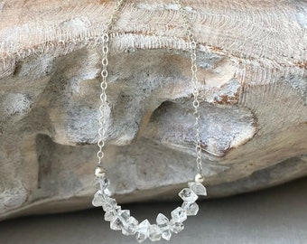Raw Herkimer Diamond Necklace in Gold or Silver
