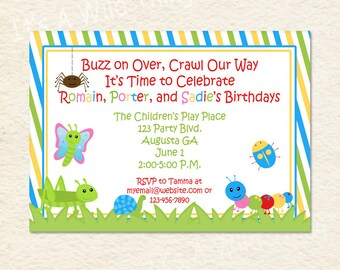 Siblings Joint Party Bug Themed Striped Printable Invitations