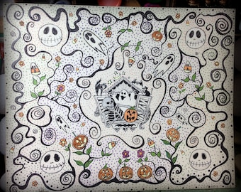 Ink drawing Halloween on very thick 8 by 10 Strathmore Watercolor paper
