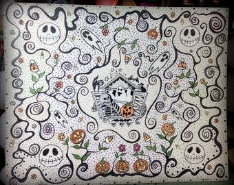 À l'encre de dessin Halloween sur très épais 8 par 10 papier aquarelle Strathmore