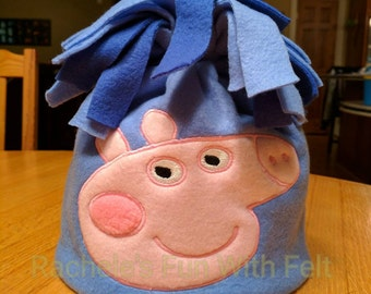 Peppa Pig inspired fleece hat