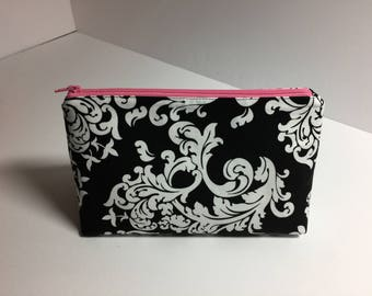Black and White Scroll Print Cosmetic Bag