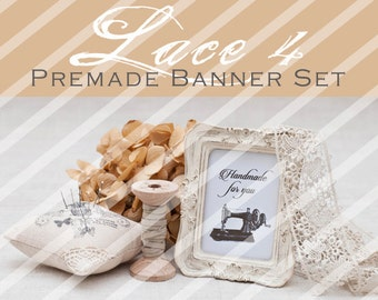 "Banner Set - Shop banner set - Premade Banner Set - Graphic Banners - Facebook Cover - Avatars - Bisiness Card - ""Lace 4"""