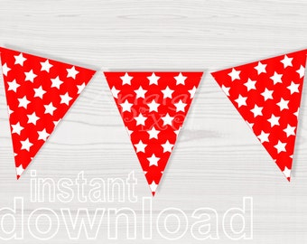 printable banners red with white stars pattern - triangles banners - red bunting decor  - red party printables download