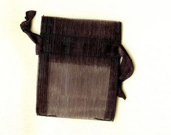 20 x ORGANZA SACHETS ❀ black 5x6.25cm MAT0471 ❀