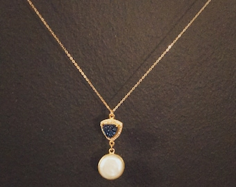 Grand Opening Sale, Druzy and Pearl Necklace