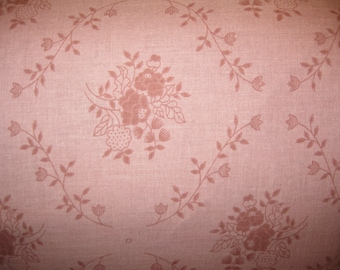 100 percent cotton fabric/rose color with flowers and vines/quilting/crafts/apparel/by the yard