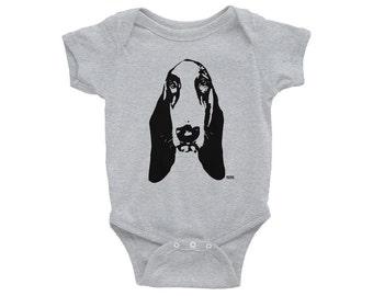 Basset Hound Baby Bodysuit, Bassett Hound Baby Clothes, Baby Girl Onepiece, Baby Boy Clothes, Toddler Clothes, Dog Baby Shower, Kidswear