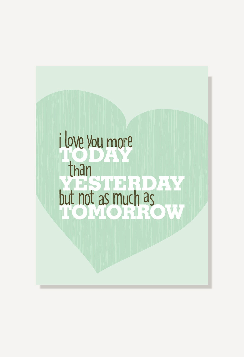 I Love You More Than Quotes Typographic Print Quote Love You More Today Than Yesterday