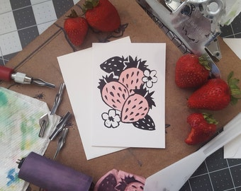 4x6 Strawberry Lino Block Greeting Card