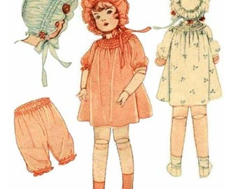 PDF Pattern, Doll Clothes Pattern, Bonnet Pattern, Antique Pattern, Sewing Pattern, 1920s 22 Inch, Digital Download