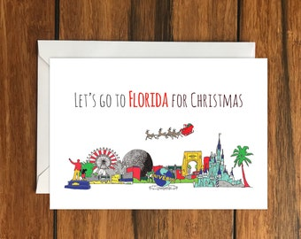 Let's go to Florida for Christmas One Original Blank Greeting Card A6 and Envelope
